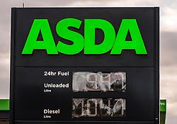 ASDA Petrol Price 11 May 2020; ASDA follow Morrisons and cut the price of petrol below £1.<br /> <br /> (c) Chris McCluskie   Edinburgh Elite media