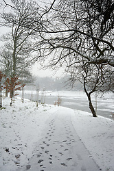LIVERPOOL, ENGLAND - Friday, January 18, 2013: Snow fall in Sefton Park. (Pic by David Rawcliffe/Propaganda)