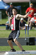 London, Ontario ---07/06/08--- Brett Weir of St.Thomas Aquinas in London competes in the Shot put at the 2008 OFSAA Track and Field meet in Hamilton, Ontario..Sean Burges