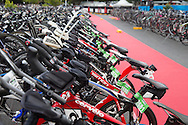 Bikes racked in transition. Saturday. 2013 Ironman Cairns Triathlon Festival. Cairns, Queensland, Australia. 08/06/2013. Photo By Lucas Wroe