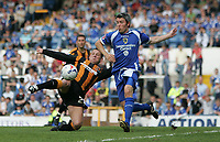 Photo: Lee Earle.<br /> Cardiff City v Hull City. Coca Cola Championship. 28/04/2007.Hull's Dean Windass (L) scores their opening goal.