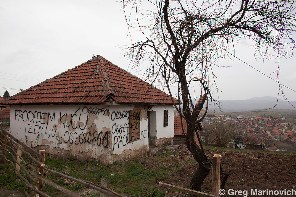 Vlasenica, Bosnia and Herzegovina, Republika Srpska, Bosnian homes for sale in this majority Serb municipality.  April 4, 2012. Greg Marinovich