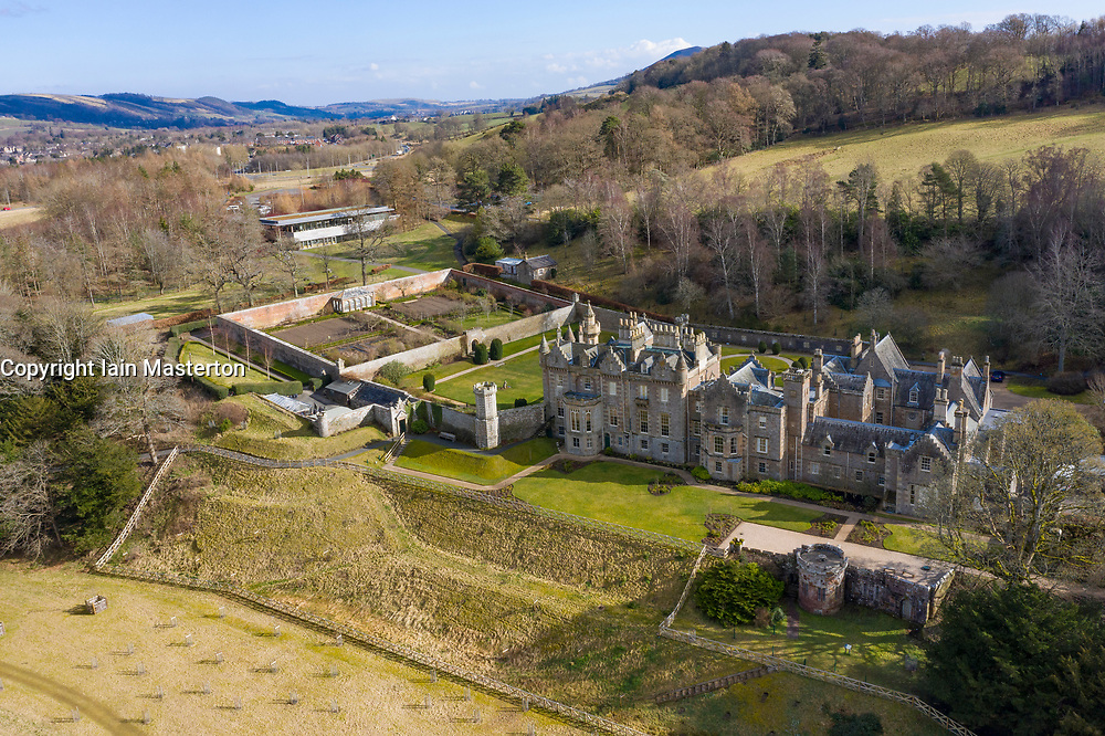 Aerial view of Abbotsford House former home of Sir Walter Scott near Melrose in Scottish Borders, Scotland, UK
