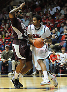 "Mississippi's Jelan Kendrick (45) works against Mississippi State's Wendell Lewis (30) at the C.M. ""Tad"" Smith Coliseum in Oxford, Miss. on Wednesday, January 18, 2012. (AP Photo/Oxford Eagle, Bruce Newman)."