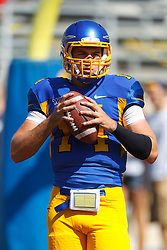 September 24, 2011; San Jose, CA, USA;  San Jose State Spartans quarterback Blake Jurich (14) warms up before the game against the New Mexico State Aggies at Spartan Stadium. San Jose State defeated New Mexico State 34-24.