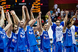 Team of Greece celebrates during the EuroBasket 2009 Quaterfinals match between Turkey and Greece, on September 18, 2009 in Arena Spodek, Katowice, Poland. Greece won 76:74 after overtime.  (Photo by Vid Ponikvar / Sportida)