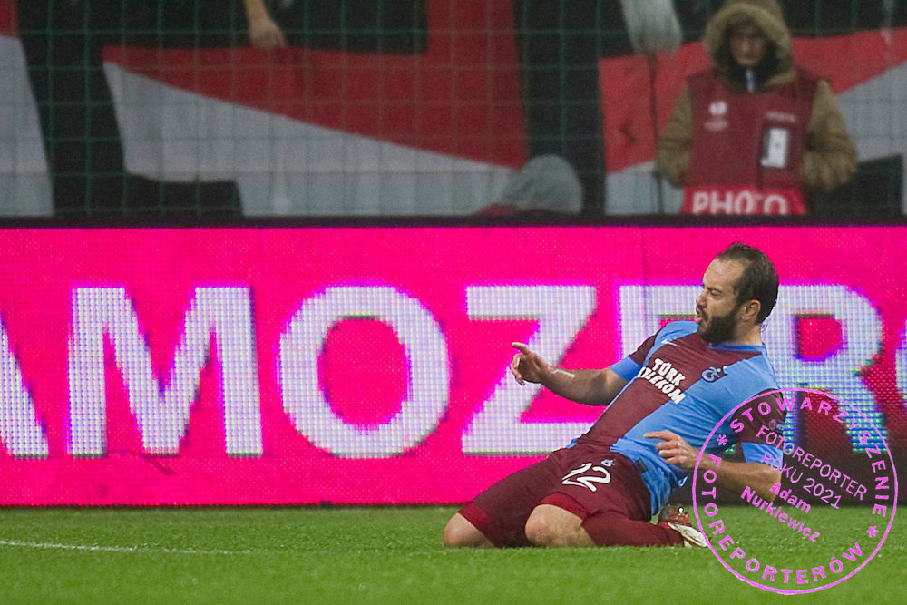 Trabzonspor's Olcan Adın celebrates after scoring during the UEFA Europa League Group J football match between Legia Warsaw and Trabzonspor AS at Pepsi Arena Stadium in Warsaw on November 07, 2013.<br /> <br /> Poland, Warsaw, November 07, 2013<br /> <br /> Picture also available in RAW (NEF) or TIFF format on special request.<br /> <br /> For editorial use only. Any commercial or promotional use requires permission.<br /> <br /> Mandatory credit:<br /> Photo by &copy; Adam Nurkiewicz / Mediasport