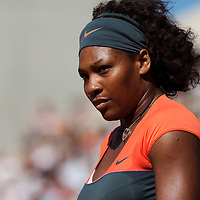 30 May 2009: Serena Williams of USA is seen during the Women's Third Round match on day seven of the French Open at Roland Garros in Paris, France.