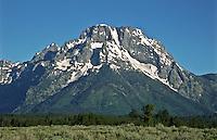 12,605 ft. Mount Moran of the Teton Range.  Grand Teton National Park, Wyoming