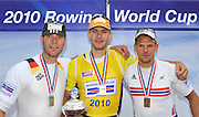 Munich, GERMANY, Men's single sculls awards dock medals left GER M1X Marcel HACKER Silver, centre CZE M1X Ondrej SYNEK and right NOR M1X, Olaf TUFTE. 2010 FISA World Cup. Munich Olympic Rowing Course, Sunday  20/06/2010   [Mandatory Credit Peter Spurrier/ Intersport Images]