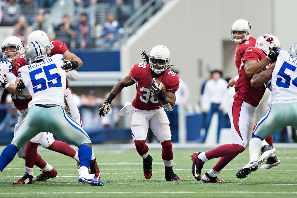 ARLINGTON, TX - NOVEMBER 2:  Andre Ellington #38 of the Arizona Cardinals runs the ball in the first quarter during a game against the Dallas Cowboys at AT&T Stadium on November 2, 2014 in Arlington, Texas.  The Cardinals defeated the Cowboys 28-17.  (Photo by Wesley Hitt/Getty Images) *** Local Caption *** Andre Ellington