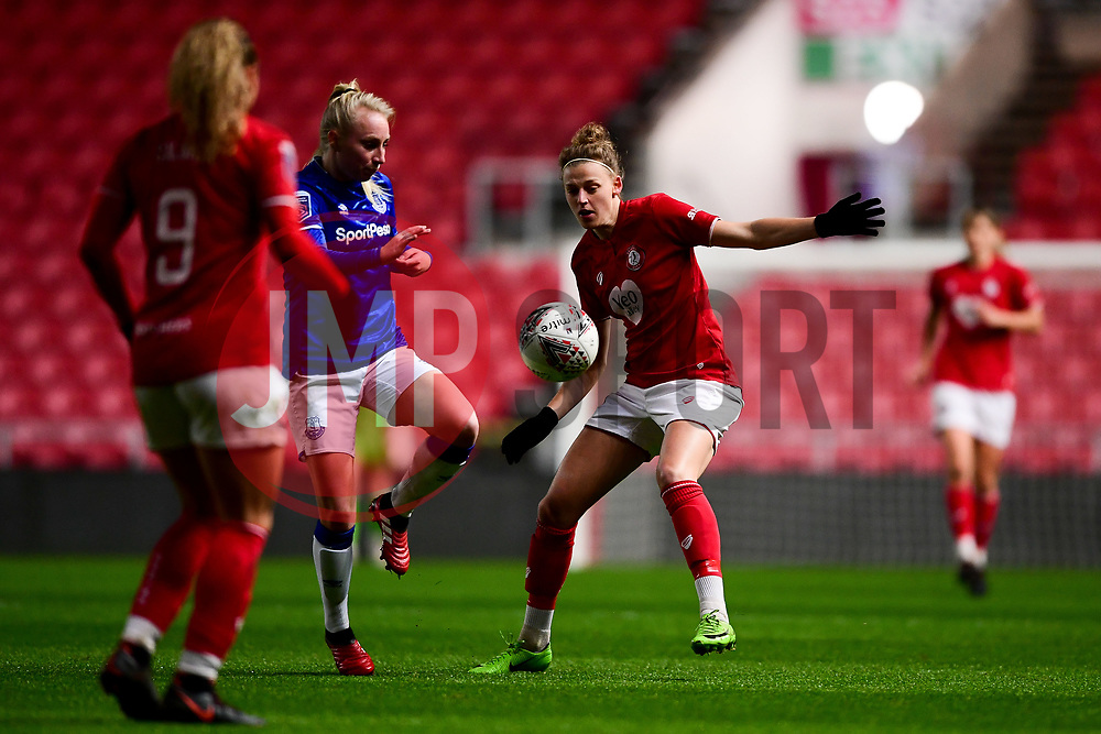 Yana Daniels of Bristol City marks Inessa Kaagman of Everton Women - Mandatory by-line: Ryan Hiscott/JMP - 17/02/2020 - FOOTBALL - Ashton Gate Stadium - Bristol, England - Bristol City Women v Everton Women - Women's FA Cup fifth round