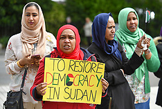 Sudanese human rights campaigners rally at Scottish Parliament, Edinburgh, 11 June 2019
