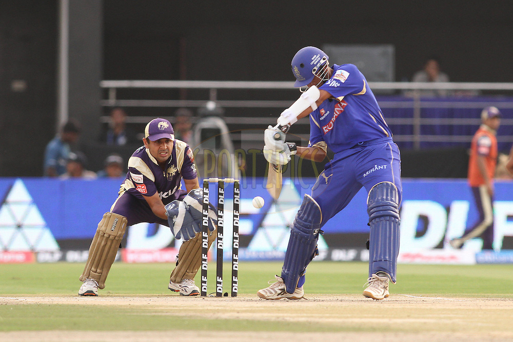 Rahul Dravid of the Rajasthan Royals attempts to cut a Shakib Al Hasan of the Kolkata Knight Riders delivery during match 12 of the the Indian Premier League ( IPL ) Season 4 between the Rajasthan Royals and the Kolkata Knightriders held at the Sawai Mansingh Stadium, Jaipur, Rajatshan, India on the 15th April 2011..Photo by Shaun Roy/BCCI/SPORTZPICS