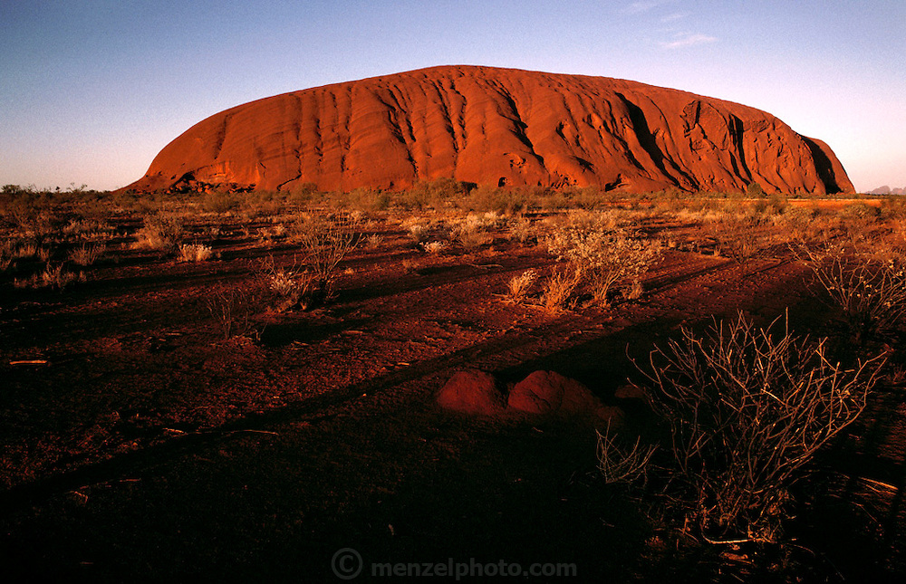 Ayer's Rock (Yulara). Central Australia. At sunset.