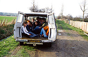 Group of teens in a van. UK. 1980s.
