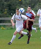 Rory Gartland, Galway United chased by Alan O'Flynn in  Cappa Park in Knocknacarra, Galway. Photo:Andrew Downes.
