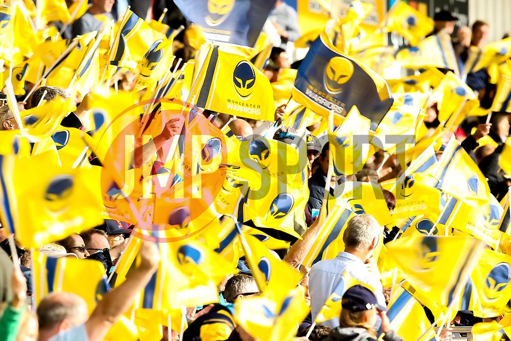 Worcester Warriors fans wave flags - Mandatory by-line: Robbie Stephenson/JMP - 07/10/2018 - RUGBY - Sixways Stadium - Worcester, England - Worcester Warriors v Bristol Bears - Gallagher Premiership