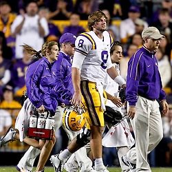 November 17, 2012; Baton Rouge, LA, USA  LSU Tigers quarterback Zach Mettenberger (8) leaves the field after taking a hit against the Ole Miss Rebels during a game at Tiger Stadium. LSU defeated Ole Miss 41-35. Mandatory Credit: Derick E. Hingle-US PRESSWIRE