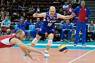 (R) Alexey Verbov and (L) Nikolay Pavlov both from Russia in action during the 2013 CEV VELUX Volleyball European Championship match between Russia v Slovakia at Ergo Arena in Gdansk on September 24, 2013.<br /> <br /> Poland, Gdansk, September 24, 2013<br /> <br /> Picture also available in RAW (NEF) or TIFF format on special request.<br /> <br /> For editorial use only. Any commercial or promotional use requires permission.<br /> <br /> Mandatory credit:<br /> Photo by © Adam Nurkiewicz / Mediasport