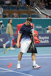 March 25, 2019 - Miami Gardens, Florida, United States Of America - MIAMI GARDENS, FLORIDA - MARCH 25: Frances Tiafoe defeats David Ferrer of Spain during day 8 of the Miami Open presented by Itau at Hard Rock Stadium on March 25, 2019 in Miami Gardens, Florida. ..People: David Ferrer. (Credit Image: © SMG via ZUMA Wire)