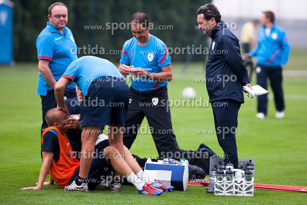 Miso Brecko injured after crash between him and Bostjan Cesar at second practice before WC 2014 Qualifications match against Switzerland, on September 4, 2012 in Sportni park, Kidricevo, Slovenia. (Photo by Matic Klansek Velej / Sportida.com)