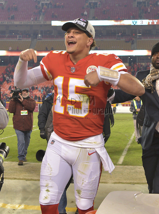 Dec 30, 2018; Kansas City, MO, USA; Kansas City Chiefs quarterback Patrick Mahomes (15) celebrates toward the crowd after the win over the Oakland Raiders at Arrowhead Stadium. The Chiefs won 35-3. Mandatory Credit: Denny Medley-USA TODAY Sports