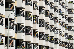 Geometric view of many balconies on an apartment building gin central Berlin Germany