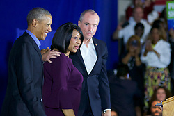 Former US president Barack Obama returns on the campaign trail at a rally for New Jersey gubernatorial candidate Phil Murphy, in Newark, NJ, on October 19, 2017.
