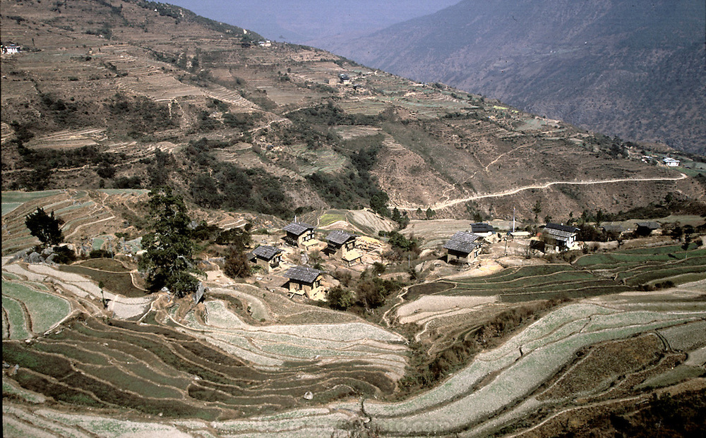 A view of the remote mountain village of Shingkhey, Bhutan. (Supporting image from the project Hungry Planet: What the World Eats.)