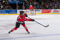 KELOWNA, CANADA - APRIL 14: Henri Jokiharju #16 of the Portland Winterhawks passes the puck against the Kelowna Rockets on April 14, 2017 at Prospera Place in Kelowna, British Columbia, Canada.  (Photo by Marissa Baecker/Shoot the Breeze)  *** Local Caption ***