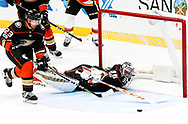 Anaheim Ducks goalie John Gibson (R) makes a save uring a 2017-2018 NHL hockey game against Calgary Flames in Anaheim, California, the United States, on Oct. 9, 2017.  Calgary Flames won 2-0. (Xinhua/Zhao Hanrong)