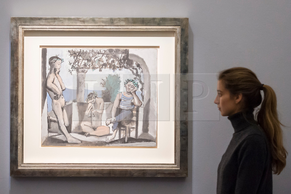 """© Licensed to London News Pictures. 20/02/2019. LONDON, UK. A staff member views """"Le repose du faune"""", 1956, by Pablo Picasso (Est. £1.6-2.5m). Preview of Sotheby's Impressionist & Modern and Surrealist Art sales.  The auction will take place at Sotheby's New Bond Street on 26 February 2019.  Photo credit: Stephen Chung/LNP"""