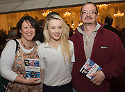 """Tammy  and Hannah Ni Laoire ,  and Michael Purcell at the launch of Ronan Scully's New book """"Time Out"""" An Innovative collaboration of words, reflections and stories of goodness, tenderness and positivity for all our lives combine to great effect in this new publication published by Ballpoint Press in aid of Self Help Africa and `The Irish Guide dogs for the Blind  at Hotel Meyrick in Galway. Picture:Andrew Downes"""