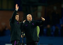 LIVERPOOL, ENGLAND - Sunday, December 23, 2018: Tottenham Hotspur's manager Mauricio Pochettino celebrates after the 6-2 victory over Everton during the FA Premier League match between Everton FC and Tottenham Hotspur FC at Goodison Park. (Pic by David Rawcliffe/Propaganda)