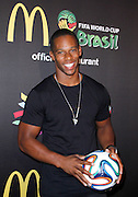 Victor Cruz attends the 2014 FIFA World Cup McDonald's Launch Party to celebrate the unveiling of the transformed McDonald's fry box at Pillars 38 in New York City, New York on June 05, 2014.