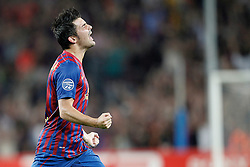 Barcelona's David Villa celebrates after scoring a  goal during Champions League match on september 13th 2011.