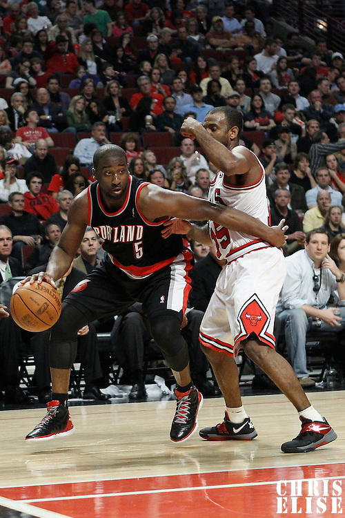 16 March 2012: Portland Trail Blazers point guard Raymond Felton (5) drives past Chicago Bulls point guard John Lucas (15) during the Portland Trail Blazers 100-89 victory over the Chicago Bulls at the United Center, Chicago, Illinois, USA.