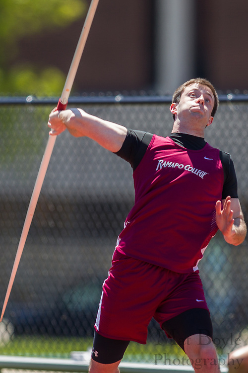 Ramapo College's Tyler Demmerle competes in the men's javelin  at the NJAC Track and Field Championships at Richard Wacker Stadium on the campus of  Rowan University  in Glassboro, NJ on Sunday May 5, 2013. (photo / Mat Boyle)