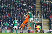 Netherlands defender Daley Blind (17) and Northern Ireland midfielder Stuart Dallas (14) compete for the ball during the UEFA European 2020 Qualifier match between Northern Ireland and Netherlands at National Football Stadium, Windsor Park, Northern Ireland on 16 November 2019.
