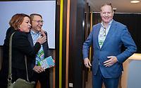 BUSSUM - Patty Smit met  Willem Zelsmann, rechts Frank Kirsten (PGA)    Nationaal Golf Congres & Beurs. COPYRIGHT KOEN SUYK