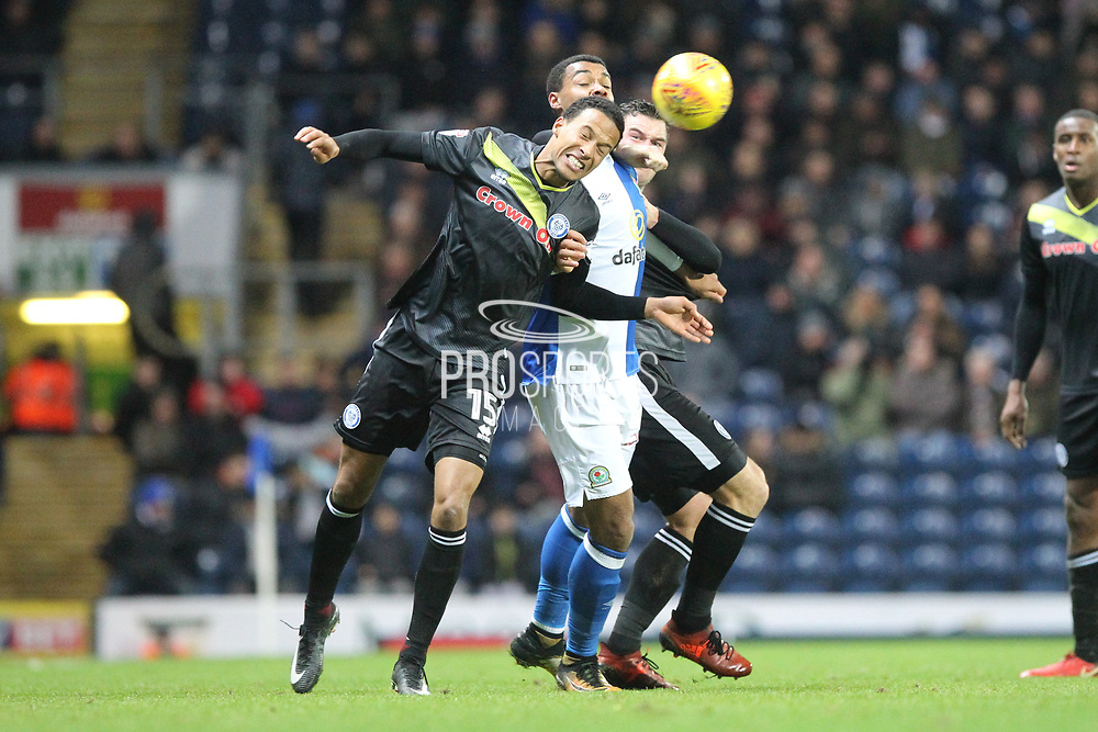 Joe Thompson wins a header during the EFL Sky Bet League 1 match between Blackburn Rovers and Rochdale at Ewood Park, Blackburn, England on 26 December 2017. Photo by Daniel Youngs.