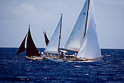 Veritas sailing in the Old Road Race at the Antigua Classic Yacht Regatta.
