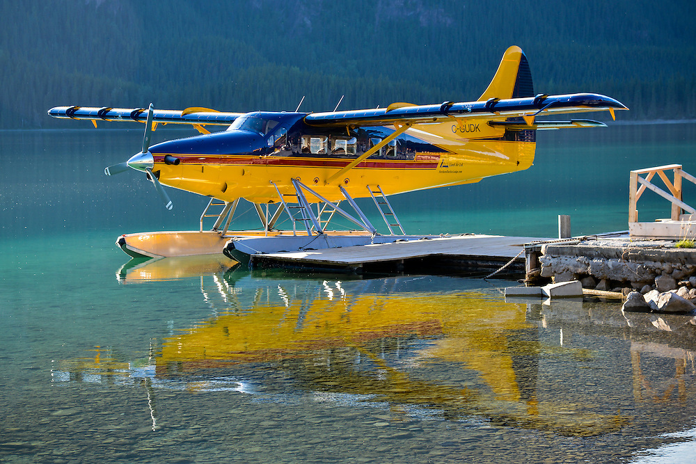 Liard Air Turbo Otter rests for the evening at Muncho lake