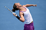 Sara Errani of Italy serves to Jelena Jankovic of Serbia during their second round at Sydney International Tennis Tournament in Sydney on Tuesday, Jan. 12, 2016. (AAP Image/Paul Miller) NO ARCHIVING, EDITORIAL USE ONLY