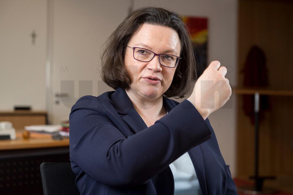 15 MAR 2018, BERLIN/GERMANY:<br /> Andrea Nahles, SPD Fraktionsvorsitzende, waehrend einem Interview, in ihrem Buero, Jakob-Kaiser-Haus, Deutscher Bundestag<br /> IMAGE: 20180315-01-008<br /> KEYWORDS: Büro
