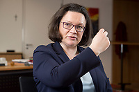 15 MAR 2018, BERLIN/GERMANY:<br /> Andrea Nahles, SPD Fraktionsvorsitzende, waehrend einem Interview, in ihrem Buero, Jakob-Kaiser-Haus, Deutscher Bundestag<br /> IMAGE: 20180315-01-008<br /> KEYWORDS: B&uuml;ro