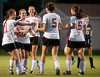 Jeanine Fereshetian is congratulated by her teammates after scoring for the Laconia Sachems during the NHIAA Division II soccer match against Plymouth Friday evening at Robbie Mills Field.  (Karen Bobotas/for the Laconia Daily Sun)