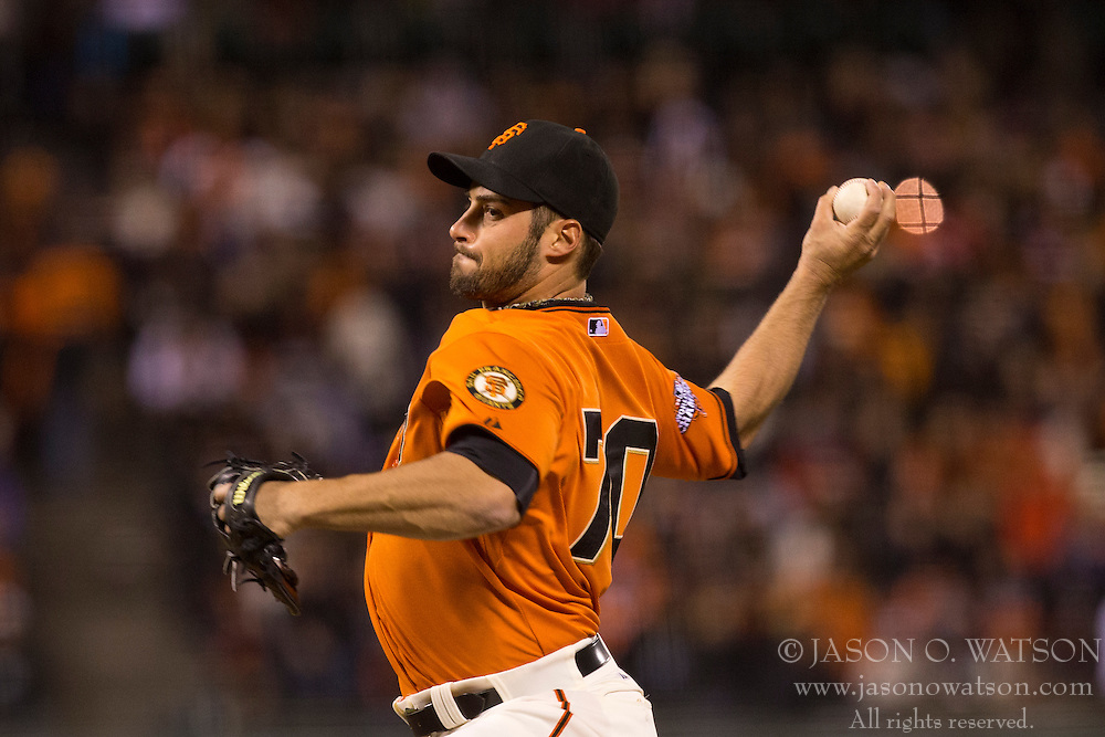 SAN FRANCISCO, CA - MAY 24: George Kontos #70 of the San Francisco Giants pitches against the Colorado Rockies during the ninth inning at AT&T Park on May 24, 2013 in San Francisco, California. The Colorado Rockies defeated the San Francisco Giants 5-0. (Photo by Jason O. Watson/Getty Images) *** Local Caption *** George Kontos