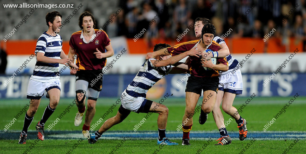 Action from the Selwyn VS Knox annual rugby match, held at Forsyth Barr Stadium, Dunedin, New Zealand, 13 May 2016. Credit: Joe Allison / allisonimages.co.nz